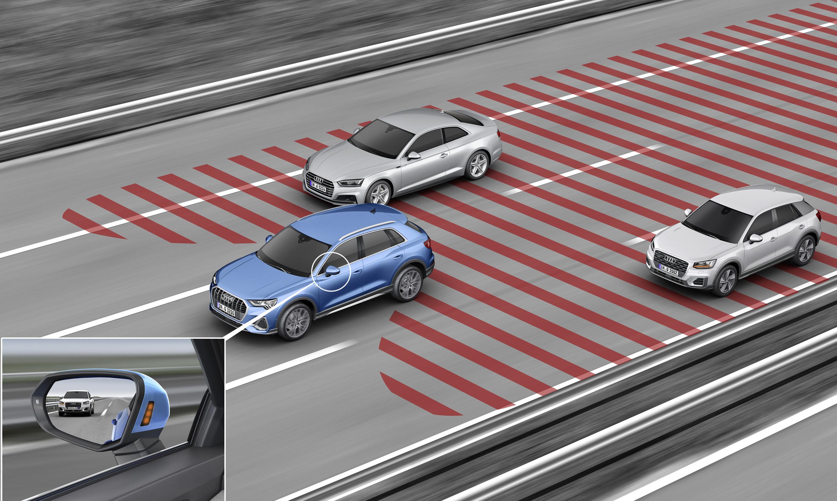 Audi side assist 車道變換輔助系統 ( 盲點警示 )。