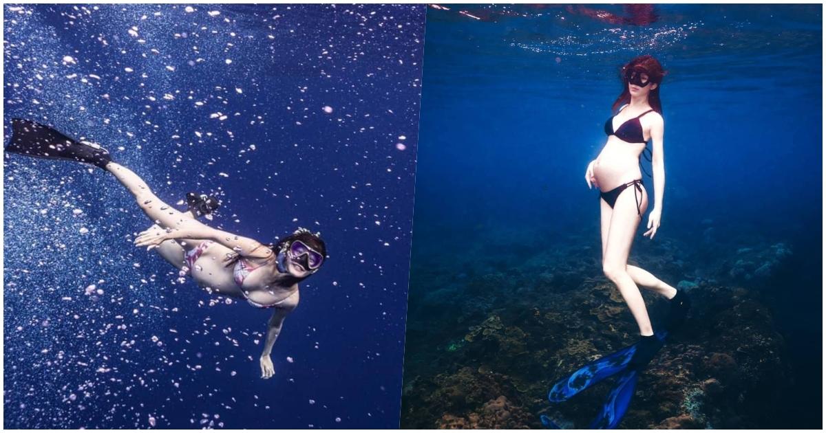 <p> ▲水性佳的明星孕媽咪們選擇在水中拍攝紀念照。(圖/Janet IG、趙孟姿IG)</p>