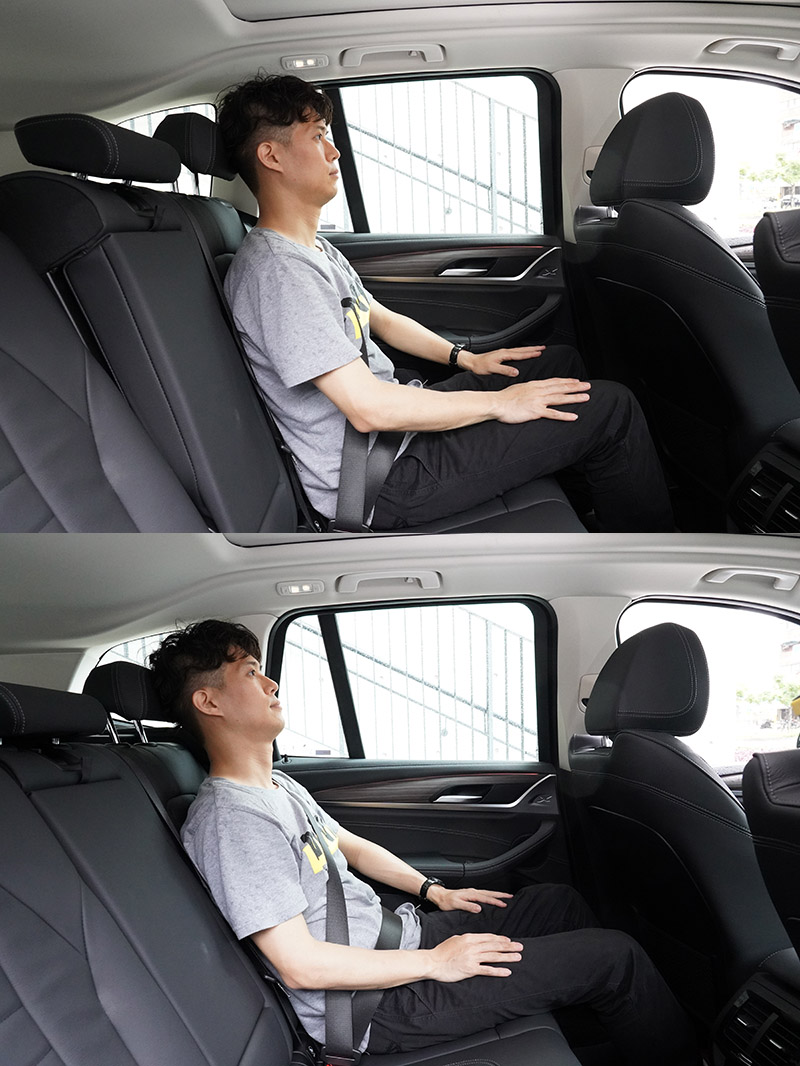 X3 xDrive30i則是多了後座椅背後傾功能,提供後座乘客更舒適地乘坐感。