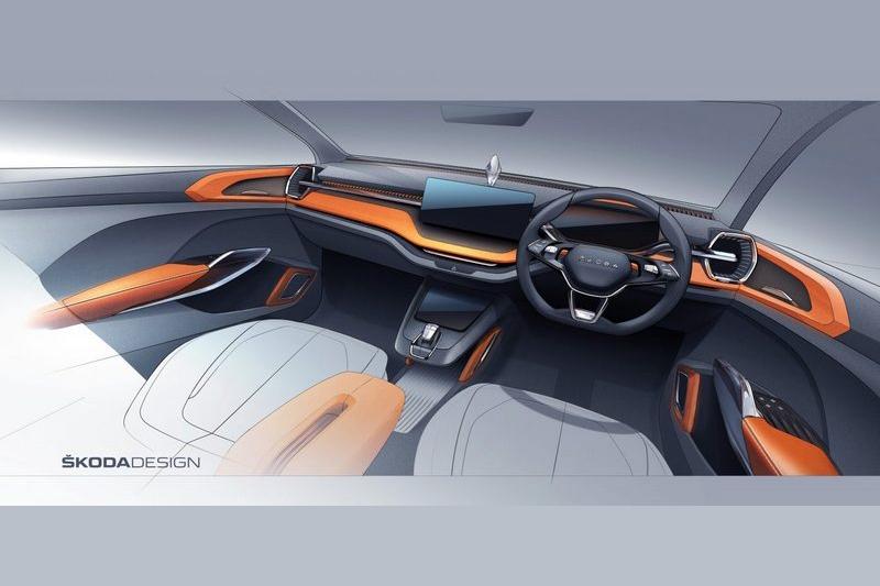 先前Skoda公布Vision IN Concept座艙草圖。