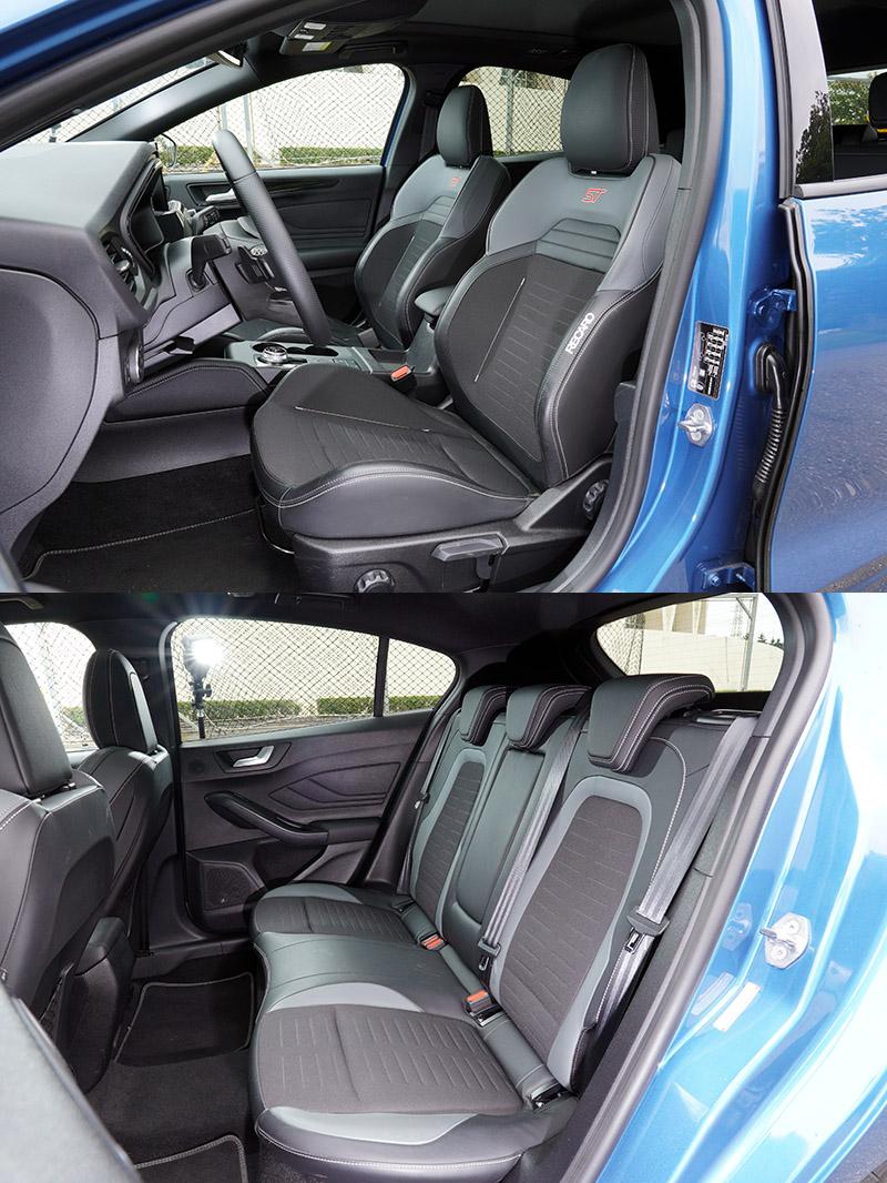 車內最具吸引力的當屬兩張ST專屬RECARO賽道型座椅,後座也採相同樣式材質包覆。