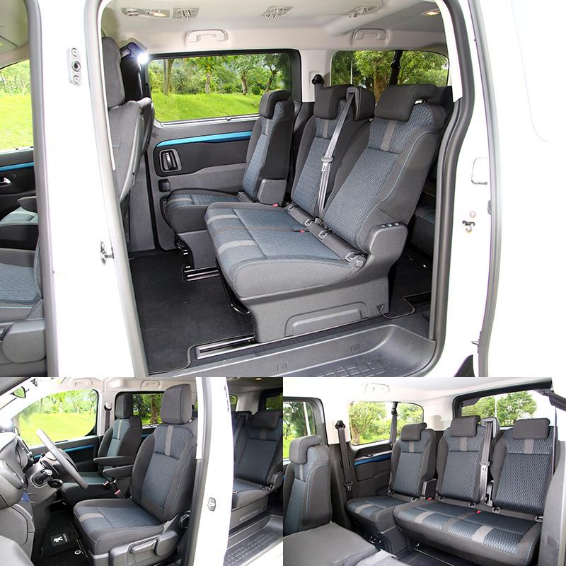 Traveller 樂活版〈5米3〉座椅也採藍黑雙采織布包覆。並採2+3+3三排座椅設計,每個座位椅背皆具有獨立可調功能,後兩排座椅也都可前後滑移,彈性調整空間。