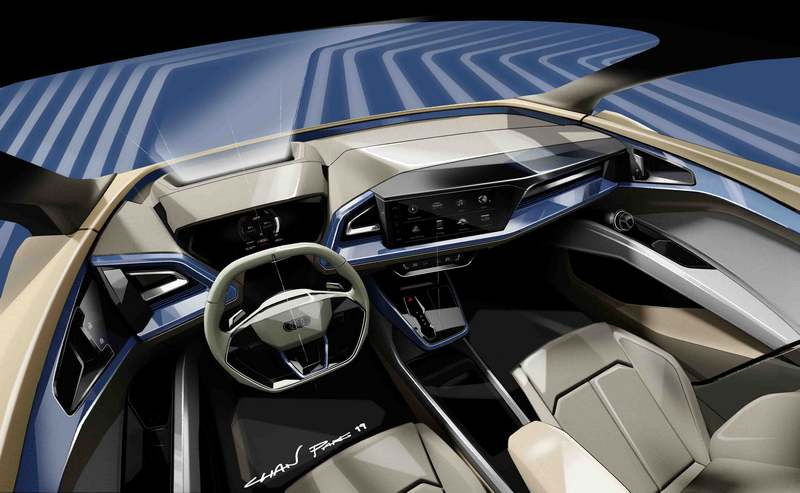 Q4 e-tron Concept雖為概念身分,但可以確定屆時量產座艙會採用數位螢幕構成虛擬座艙。