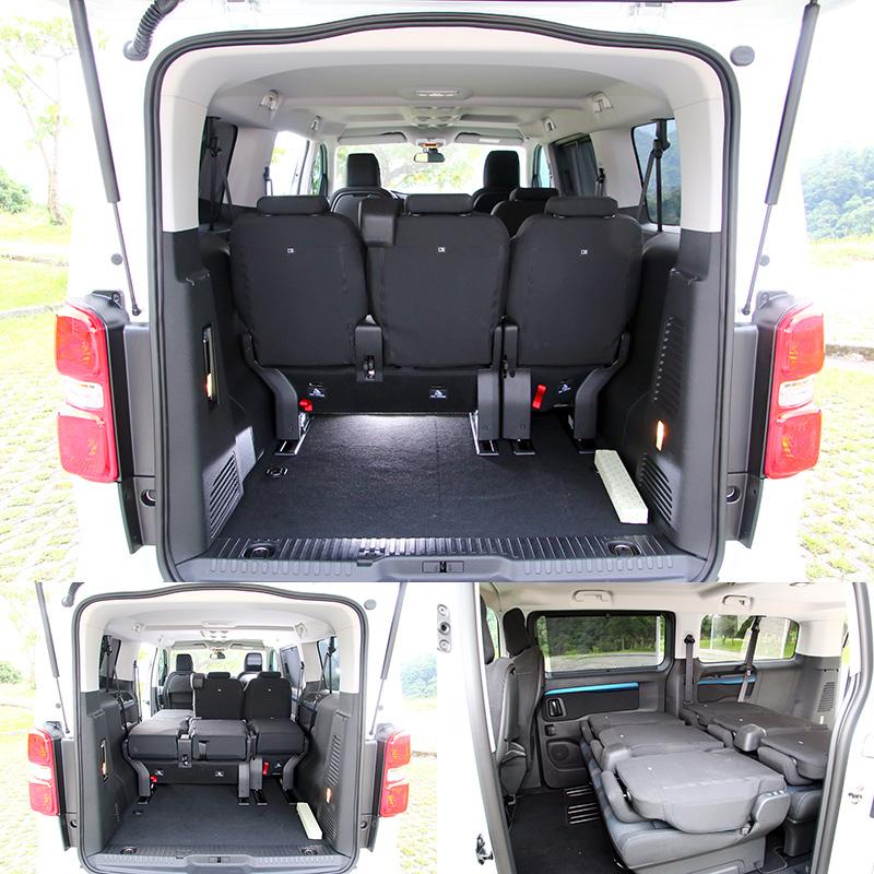 後兩排座位除了可藉由椅背掀倒擴充空間外,也可以將所以座椅卸除換取最大置物空間,而即便第三排座位退至最後,也還有相當寬裕的置物空間。