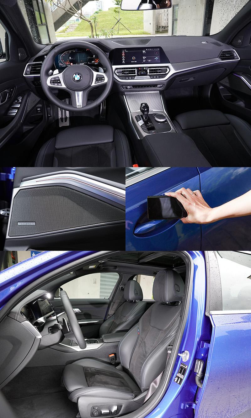 330i Touring M Sport,除標配了harman/kardon的音響系統全車配有16支揚聲器,還多了抬頭顯示器,以及最新的手機數位鑰匙,配備更為豐富
