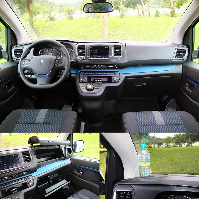 樂活版〈5米3〉與其他版本不同的是車內採用了藍色類金屬飾板點綴,視覺上更為活潑。而中控台上兩側設有置杯架,副駕駛座前也有上下兩層置物空間,提供便利收納機能。