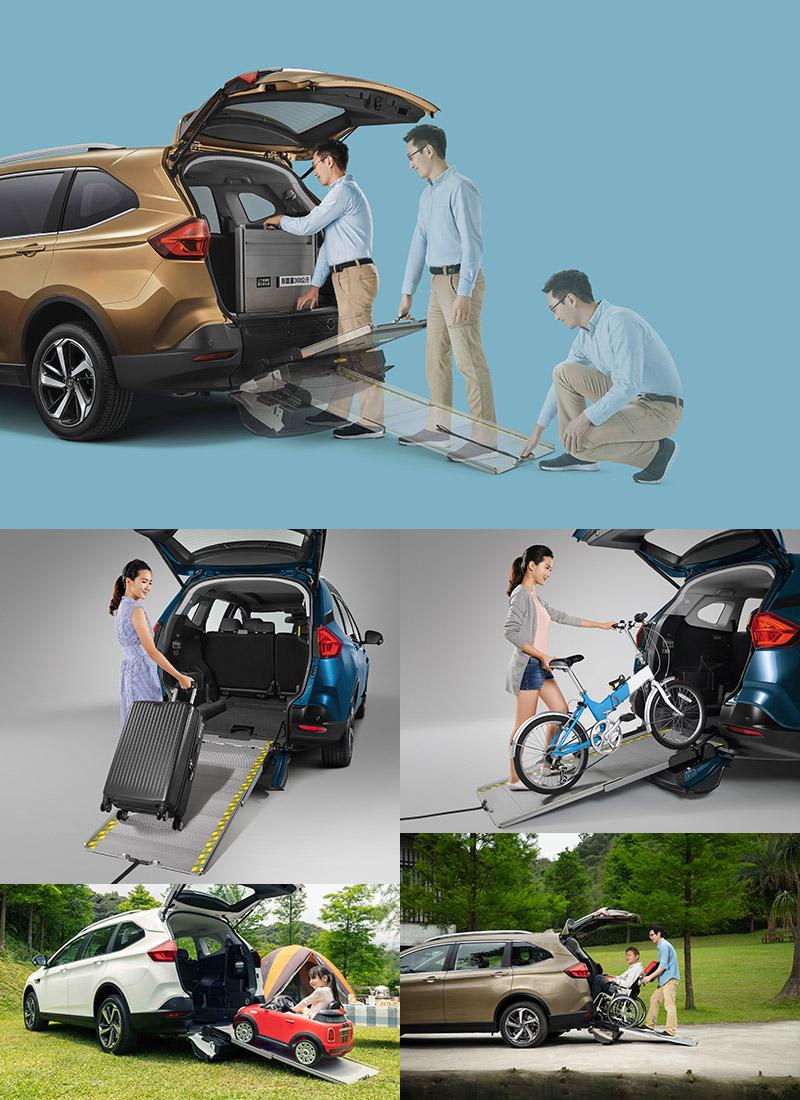 有了便利伸縮式斜坡板,許多物品就不用在搬上搬下,便利性大為提升,最重要的是可以將輪椅直接推入車內。