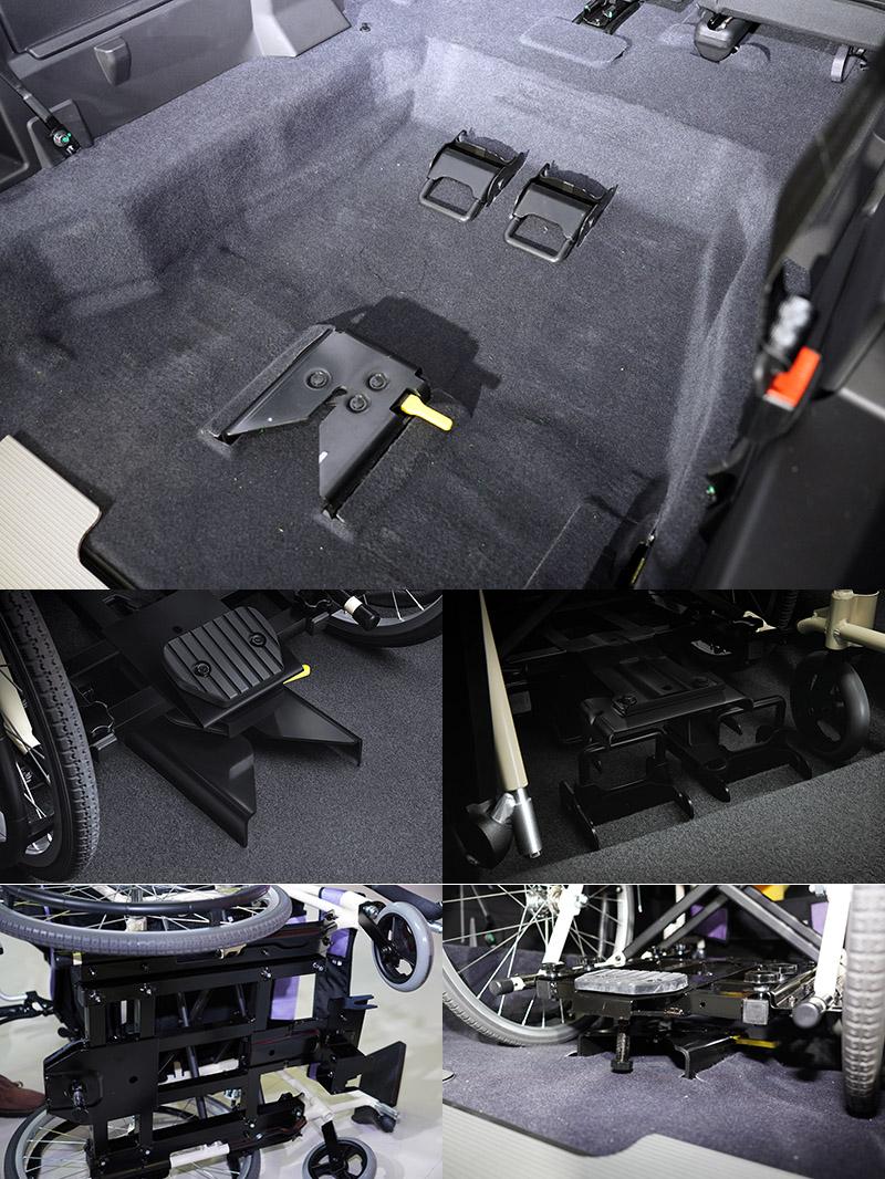 「Luxgen Quick Lock易扣」輪椅快扣裝置,搭配為輪椅開發的固定底盤,通過ARTC的輪椅束縛系統動態測試,安全性更有保障。