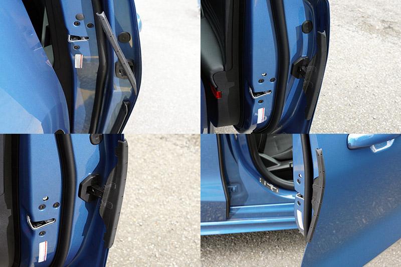 獨特的車門伸縮防撞護條,會跟著車門啟閉做動,當車門開啟時就會外伸靠上車門邊緣最外側處保護車門,關門時就會自動內縮至車門內側。