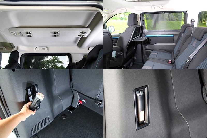 除了前座雙區恆溫空調,後座也設有獨立空調,並對應每一排座位皆有出風口,同時第二排座位設有折疊餐桌與遮陽簾。行李廂內的室內燈拆卸後即是一支手電筒,是Peugeot獨創的設計。