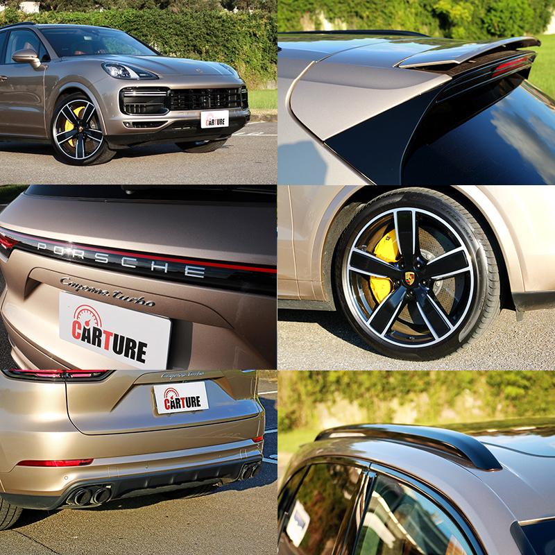 啞鈴型水箱護罩、車尾銘牌與電動上掀尾翼都是分辨Cayenne Turbo與其他Cayenne不同之處,其餘包括:輪圈、排氣尾管樣式、車頂架樣式等都可選配。