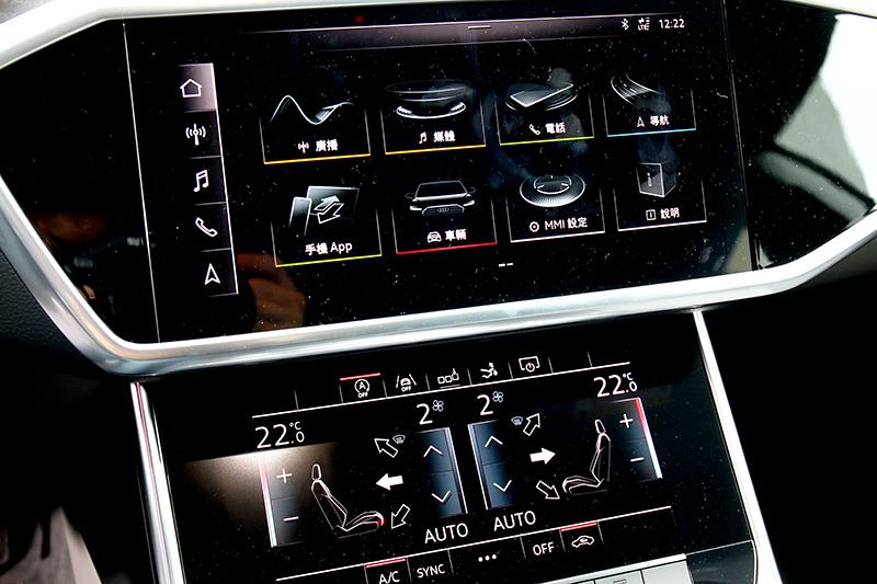 雖然觸控不比實體按鍵直覺真實,但其實也有設計得宜的,Audi上下兩層螢幕操作就還算直覺便利。