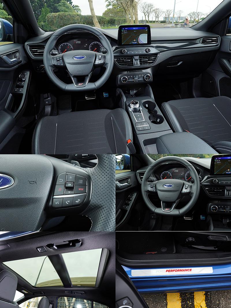 ST專屬平底運動化方向盤,於右側多功能按鍵附「S」按鍵與「Mode」選擇模式鈕,讓駕駛可以迅速速切換動態模式。另外,碳纖維飾板、黑色頂篷,以及全景式天窗,也都是Focus ST與其他Focus車型不同之處。