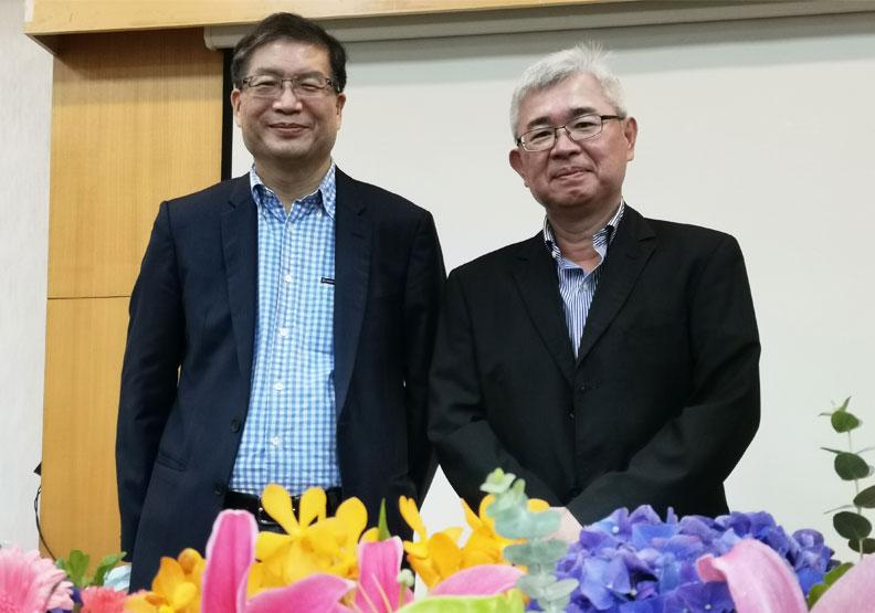 祥碩經營團隊:董事長沈振來(左)、總經理林哲偉(右)。邱莉燕攝