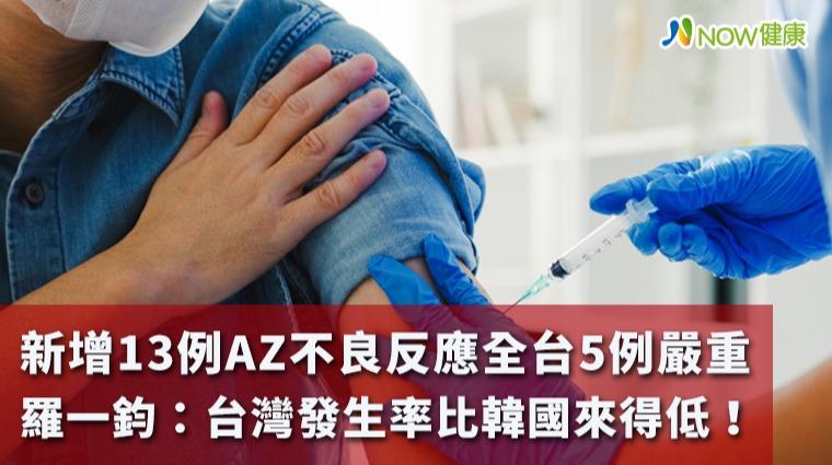 新增13例AZ不良反應全台5例嚴重 羅一鈞:比韓國低!