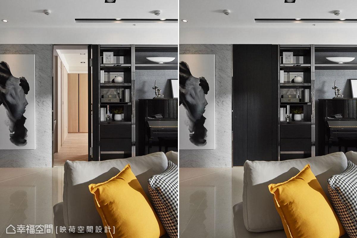 為使視覺統一,空間顯得更乾淨俐落,將主臥門片與展示櫥櫃整合在牆面,設計成隱藏式門片,同時也解決屋主怕干擾主臥動線的隱私問題。