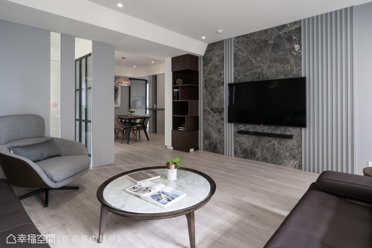 石材、木質及光影的鋪陳相互滲透,讓空間在靜謐中蘊藏著豐富的層次旨趣。