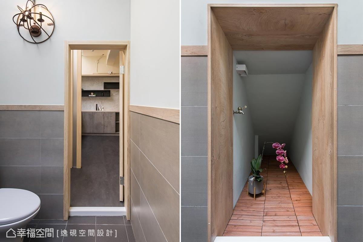 淺色木製門框,淺灰色磁磚牆面搭配造型壁燈,營造清新自然的感受,利用樓梯下的空間,以木造材質打造一隅端景,強化每個細節的美感。