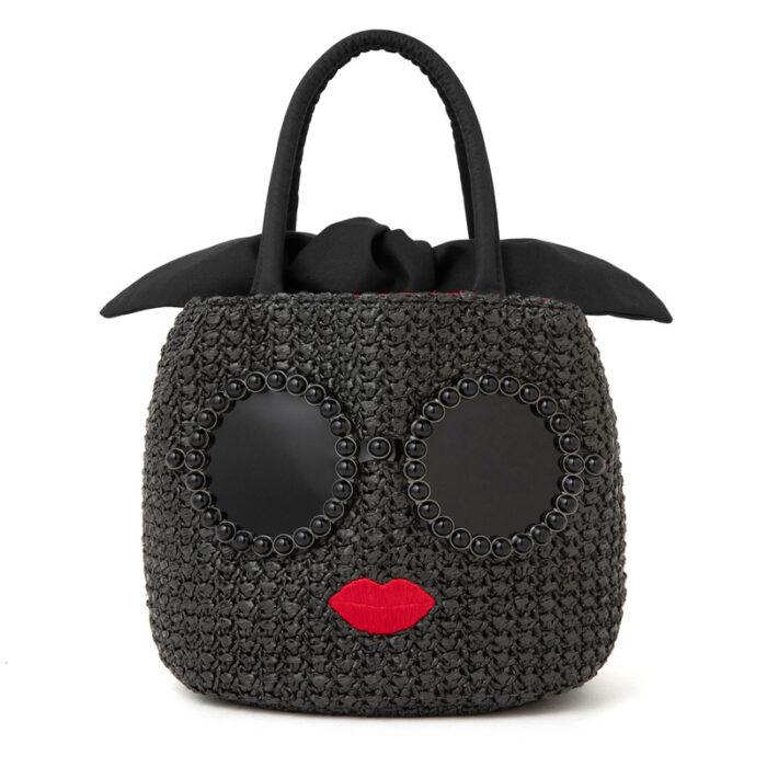 a-jolie墨鏡女孩編織包黑色版