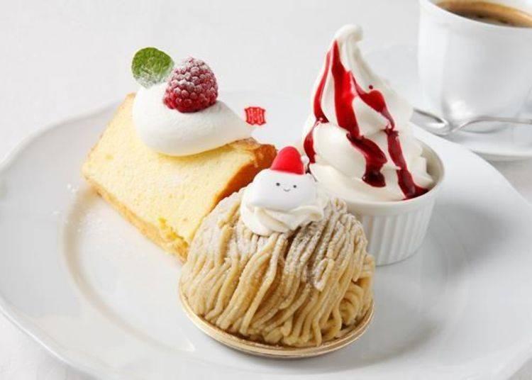 ▲北菓樓咖啡廳最受歡迎的蛋糕套餐(ケーキセット)750日圓,內含戚風蛋糕、霜淇淋、任選蛋糕及任選飲品各一,相當超值。