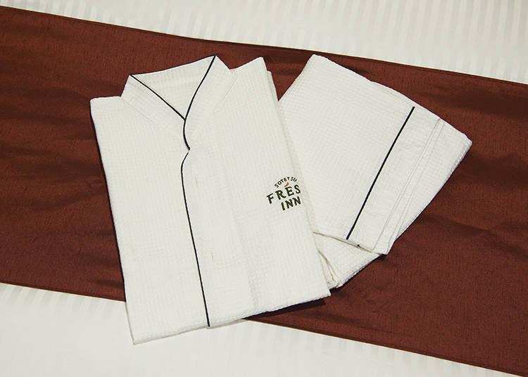 華夫格紋材質的舒適睡衣