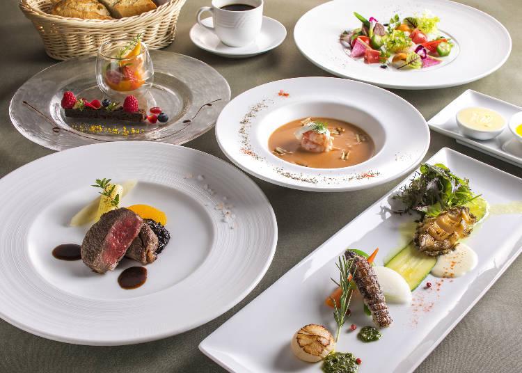 擺盤精緻的晚餐,創作法式料理。
