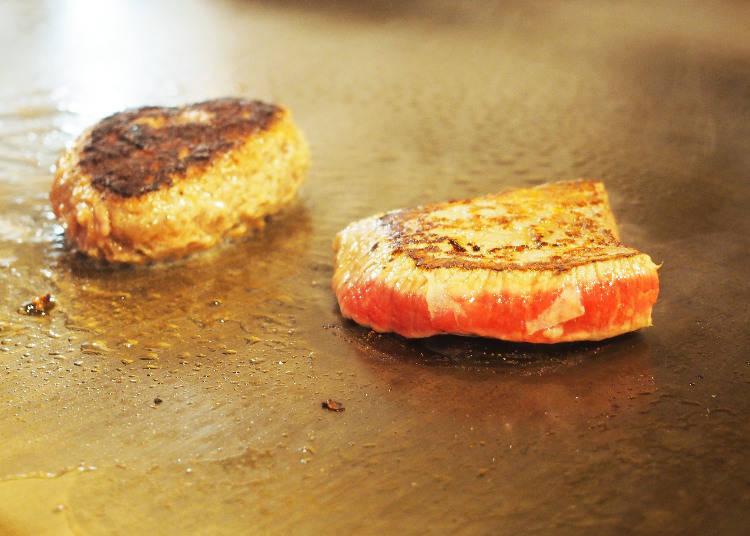 現場可以直接看到用鐵板煎牛排的過程