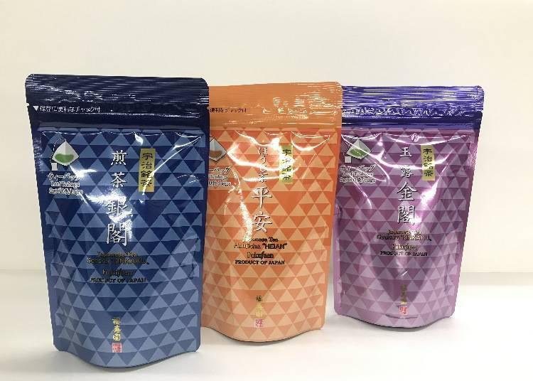 從左至右為「煎茶 銀閣」594日圓、「培茶 平安」594日圓、「玉露 金閣」918日圓(皆為含稅)