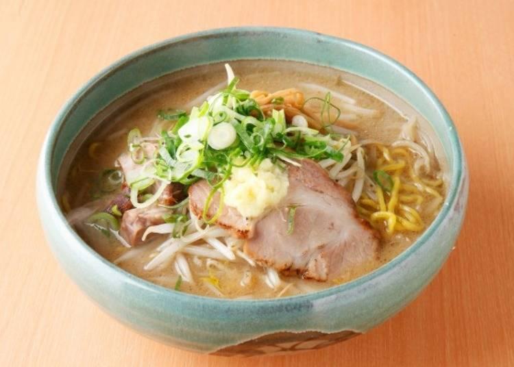▲「麵屋 彩未」的味噌拉麵(750日圓含稅)。叉燒上點綴著生薑泥
