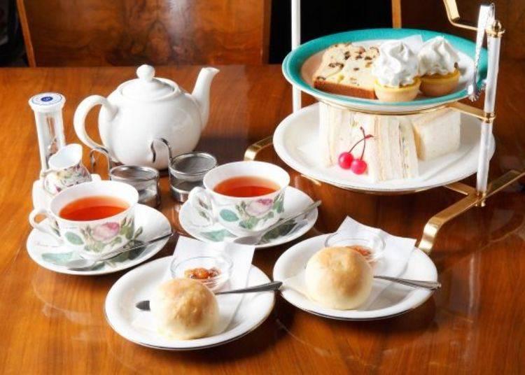 ▲「下午茶套餐(アフタヌーンティーセット)」(1人份1,500日幣含稅 ※照片為2人份)