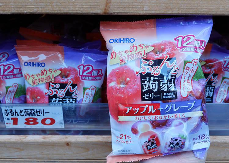 ORIHIRO很有彈性的蒟蒻果凍 蘋果+葡萄(アップル+グレープ) (12個入(2種類*6)) 參考售價 180日圓(未含稅)