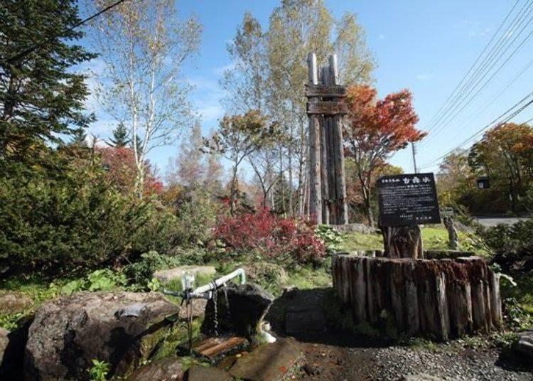 此處有自然湧出的泉水,無論何時何人都可以自由取得,這裡是當地的著名景點,附近居民、餐飲相關業者或是觀光客都源源不絕到此遊訪。