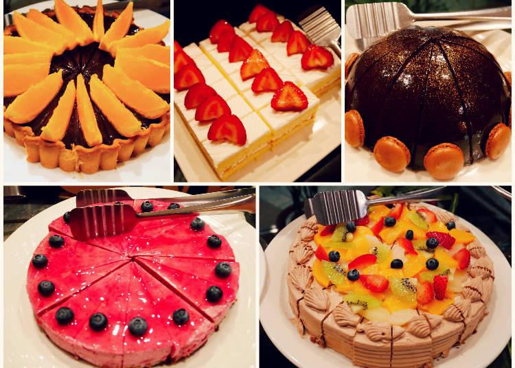 左上起:巧克力柳橙派、草莓鮮奶油蛋糕、73%可可圓頂鏡面蛋糕 左下起:莓果慕斯蛋糕、巧克力鮮奶油蛋糕