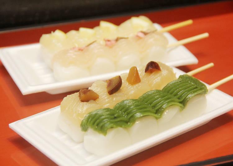 特殊口味團子,各180日圓,由前向後分別是抹茶餡、栗子餡、櫻花餡、蜂蜜檸檬餡。