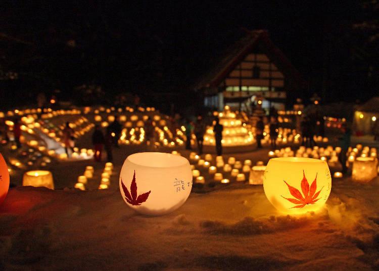 ▲看著這一個一個點上燈的樣子,搖曳的燭火,讓人感覺十分溫暖(照片提供:定山溪觀光協會)