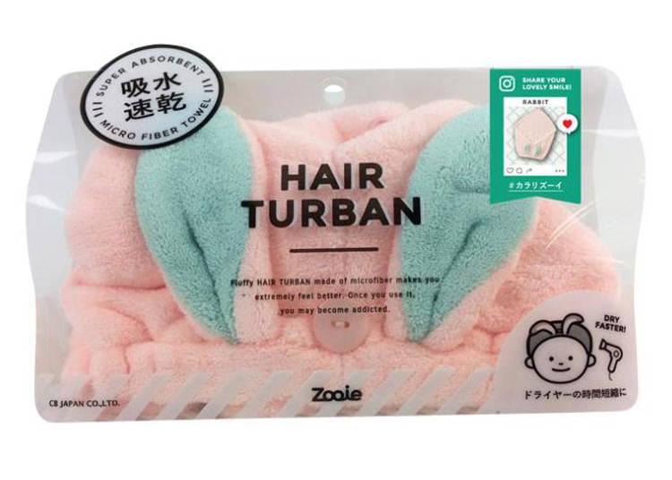 「兔耳造型吸水包頭毛巾」