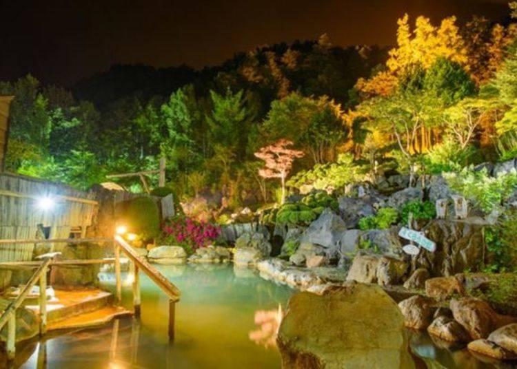 夜晚點燈後的美景!〈照片提供:豐平峽溫泉〉