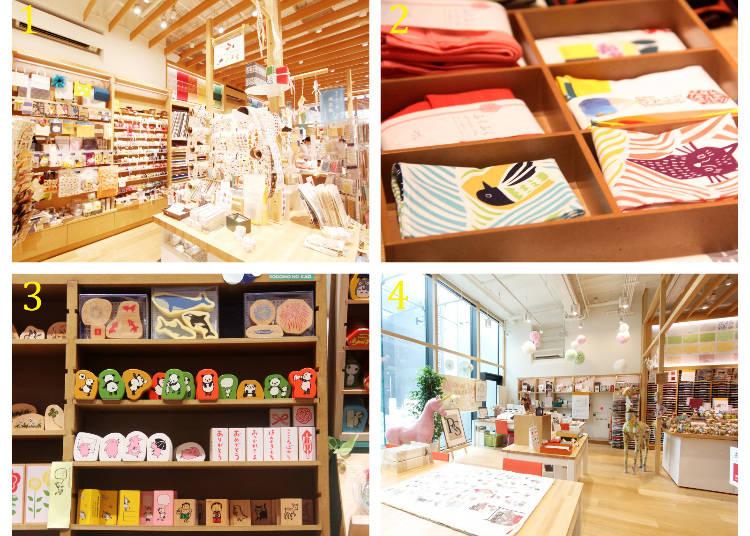 1 種類齊全的禮品包裝用紙張、膠帶等 2 日本傳統包袱布、小袋子等和風小物 3 各式圖樣印章 4 剪紙工藝教室範例圖