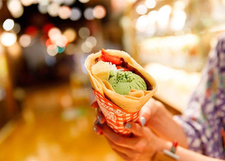 ▲有紅豆、草莓、抹茶冰淇淋、起司蛋糕、鮮奶油的「御台場大江戶溫泉的特別口味」(630日圓、未含稅價格)。外酥內軟的可麗餅餅皮與日式口味的組合真是出色!