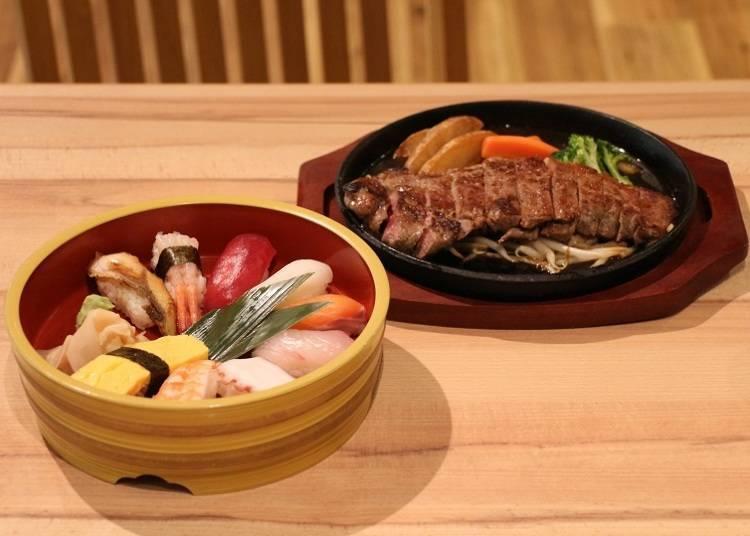 壽司10貫拼盤與沙朗牛排