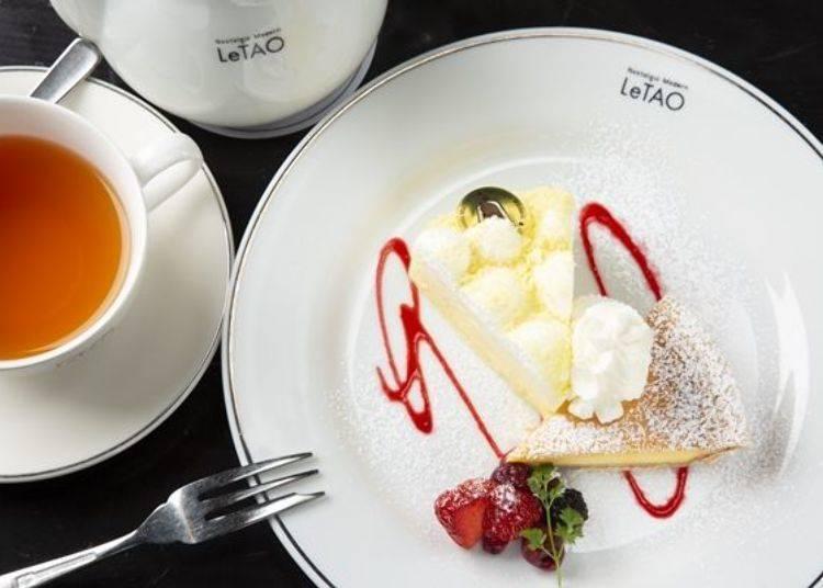 奇蹟口感套餐可同時享用到LeTAO熱銷蛋糕「原味雙層乳酪蛋糕(ドゥーブルフロマージュ)」(左)及「威尼斯戀人(ヴェネチア ランデヴー)」兩種口味,另附有一杯飲品喔。