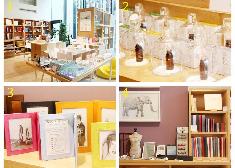 1 月曆及相框 2 香氛精油與香氛玻璃瓶 3 伊東屋自創皮革相框 6500日圓 4 也有販售設計時髦的老花眼鏡