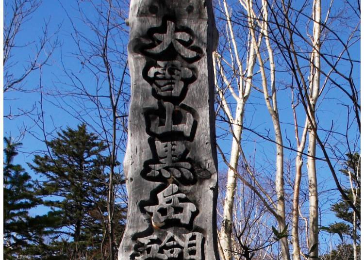 散步途中會遇到黑岳5合目的標柱。上面有著天然紀念物熊啄木鳥啄出的洞
