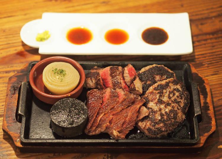 聽屋黑毛和牛牛排與漢堡排1磅拼盤(听屋プレート 1ポンドグリル(450g))(4700日圓)