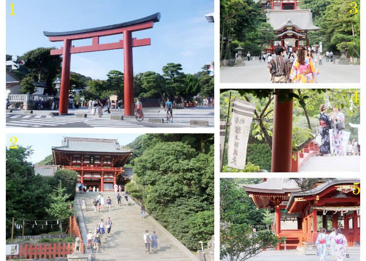 1設立在神社入口的三之鳥居 2本宮與石子台階 3參道 4旗上弁財天社上的橋樑 5靜御前的舞殿