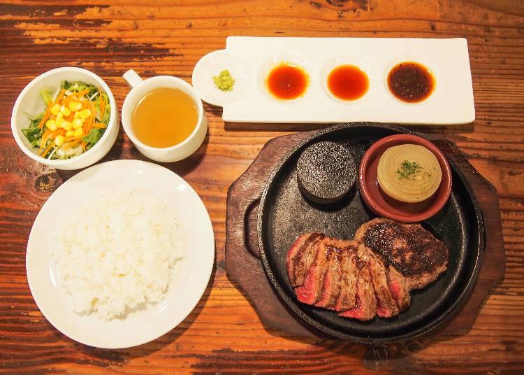 午餐限定180g組合漢堡排&牛排(ランチ限定180gコンボ ハンバーグ&ステーキ)(1790日圓含稅)