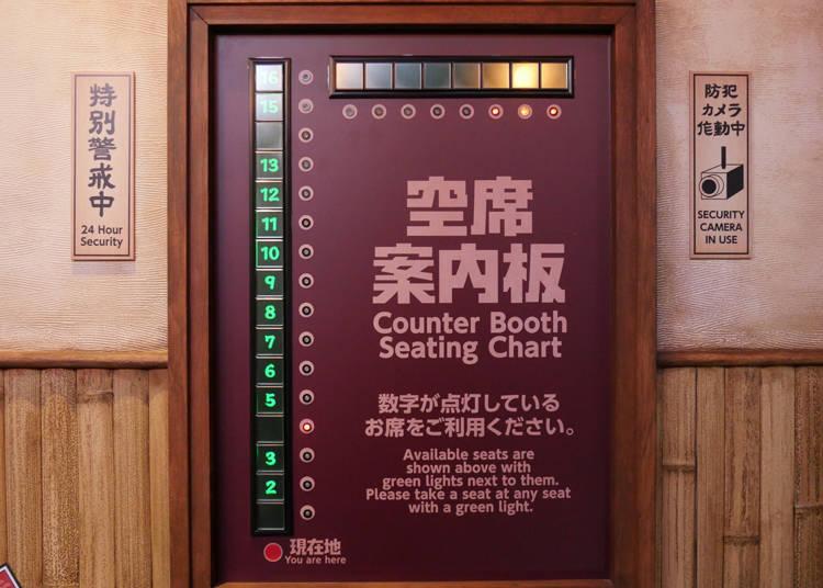 可以從空席案內板來確認目前店內的空位情形,超方便!