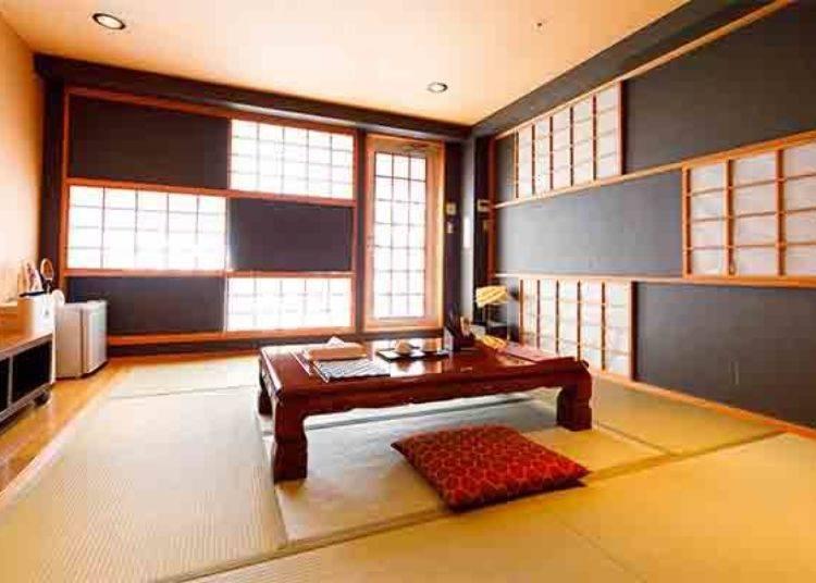 ▲日式風格的和室(限定人數2位、房內空間29平方公尺、有附衛浴設備及廁所、有附露天溫泉)