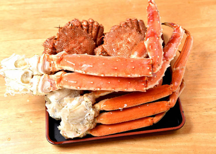 從北海道毛蟹、松葉蟹、北海道帝王蟹這3種螃蟹中,按自己的喜好組合菜色。