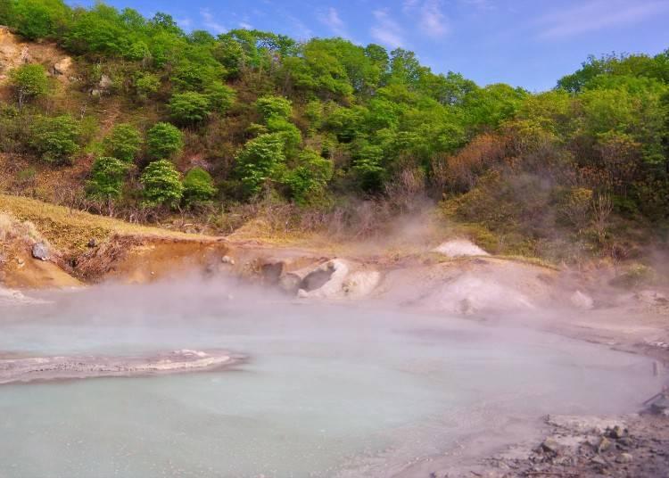從沼澤底部噴出灰黑色硫磺泉的「奧之湯」。表面溫度竟有75~80度的高溫!